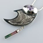 Pendent with amethyst and tourmaline