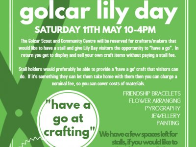 Have a craft stall on Golcar Lily Day