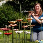Garden Stories ceramic flower installation