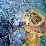 Radha- Krishna, mixed media on canvas