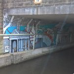 Streets of Colour - wall painting on canal path in Huddersfield