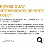 Heritage Quay looking for singing groups for project