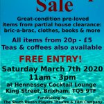 20p-£5 Tabletop SALE fundraising for theatre productions
