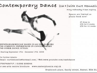 Contemporary Dance Class with Curt Hennells @ Exeter Phoenix.