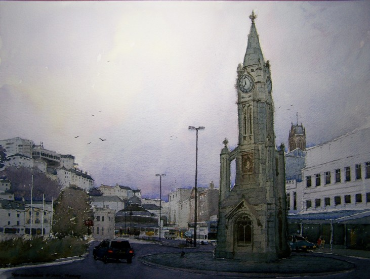 """ The clocktower at dusk "", Torquay"