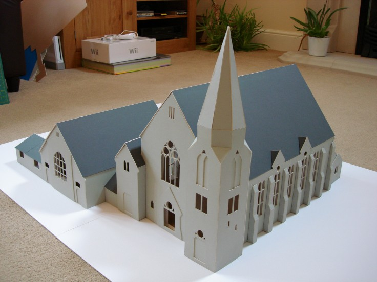 1:50 scale model of church and hall