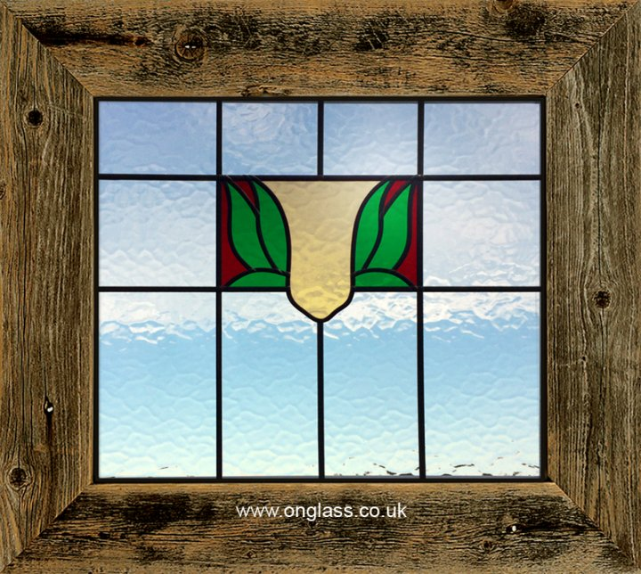 A traditional looking leaded top light - fanlight window.