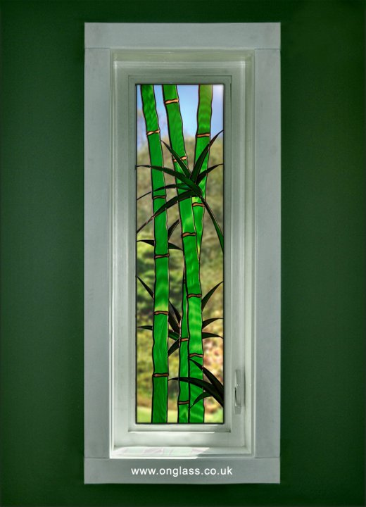 Bamboo leaded stained glass windows.