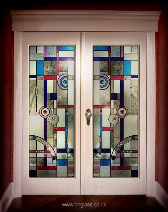 Bevel & Jewelled door glass