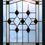 Bevel glass door design.