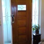 Bevel glass front door.