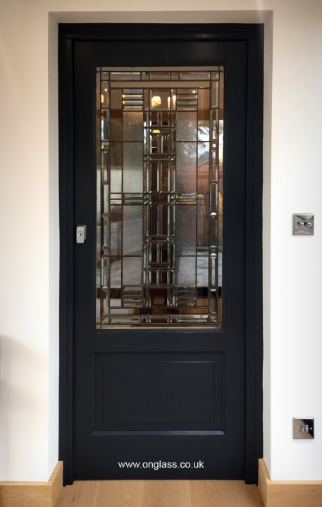 Bevelled glass bespoke door design pattern