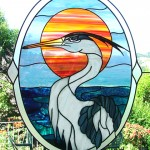 stained glass heron bird