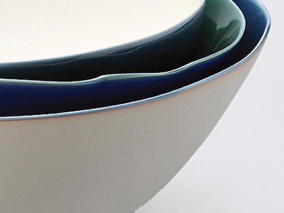 Blue ceramic bowl (detail) by Fuku Fukumoto