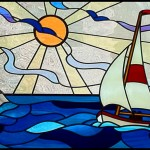 Stained glass - Boat & lighthouse window