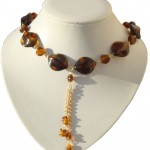 BP 049  Amber Coloured Necklace