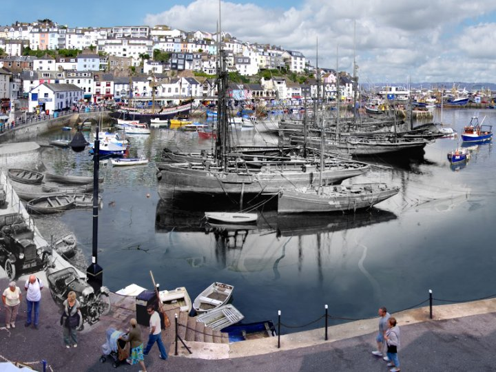 Brixham harbour 1924 and 2008