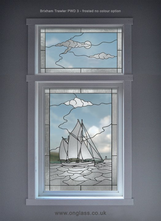 Brixham trawler frosted window pattern.