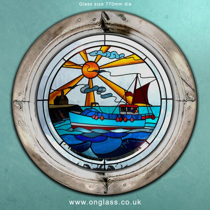 Cornish Cadgwith Crabber & Huer's Hut round window.