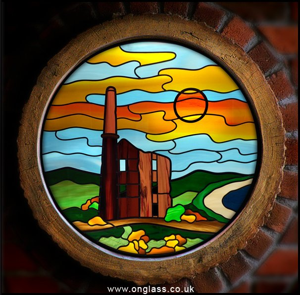 Cornish Tin Mine scene made into a 540mm round window.