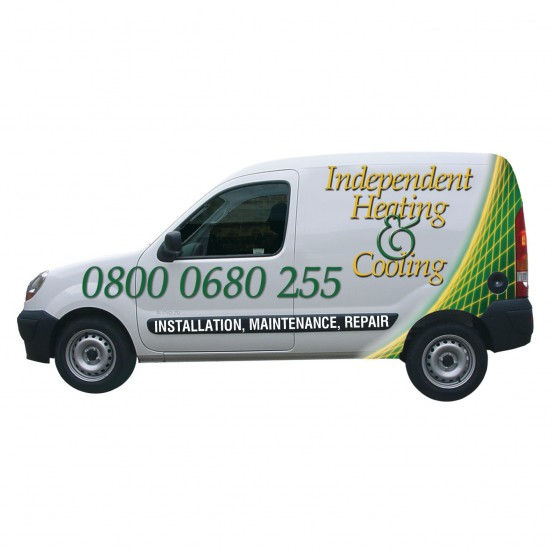 Corporate livery for Independent Heating's vehicle fleet