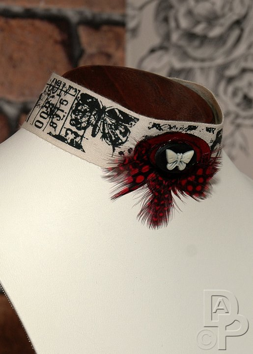 Cream, Black & Red Steampunk Choker