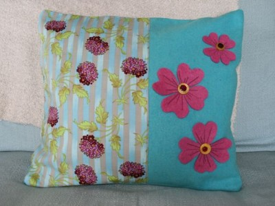 Cushion made from vintage blanket