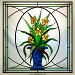 Daffodil pattern stained glass window