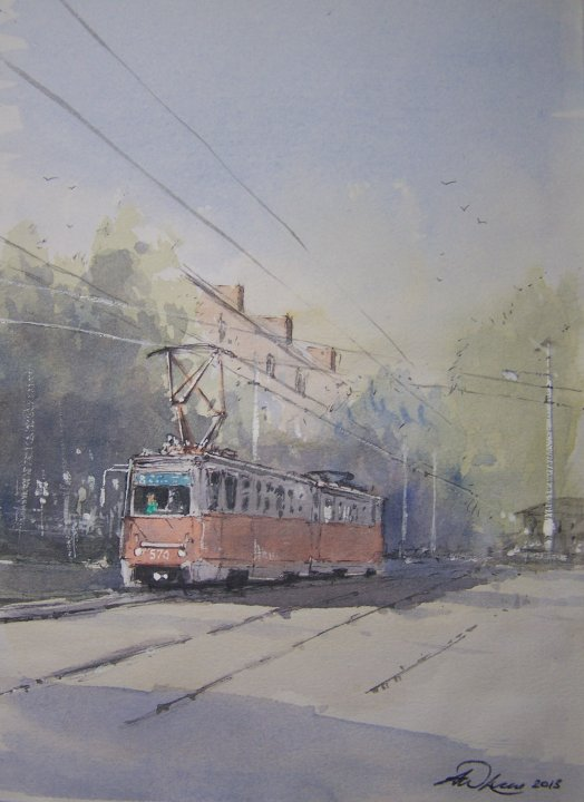 """ Early start on the tram "" Krasnodar, Russia"