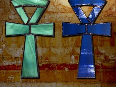 Egyptian Ankh stained glass.