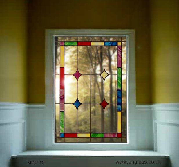 Elegant stained glass window design.