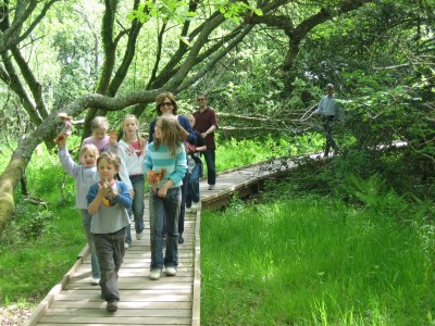 Family enjoying the Nature Trail at Occombe Farm