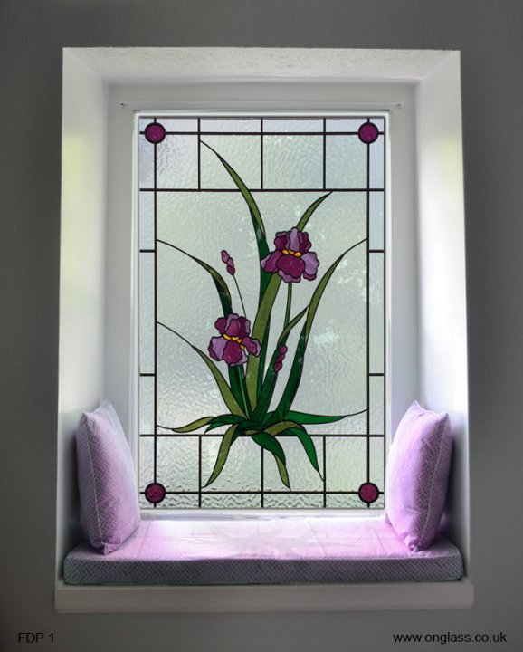 floral pattern stained glass window