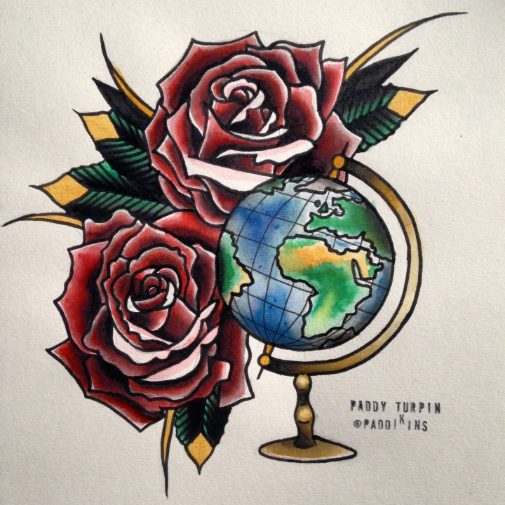 Globe With Roses