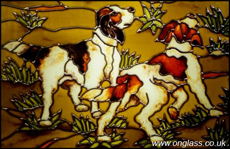 Gun Dogs stained glass window