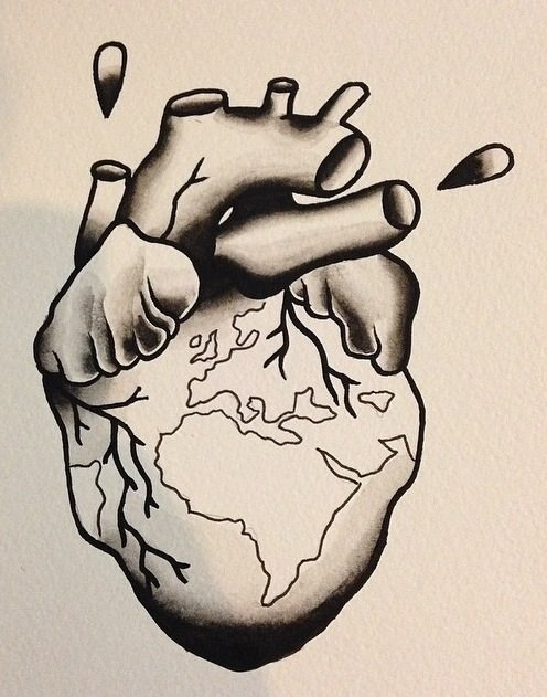 Heart with earth (black & white)