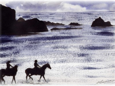 Commission - Horses at Polperro