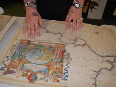 Looking at maps in the museum