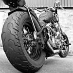 low rear tyre view