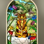 Maine coon ginger cat arched window