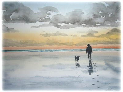 Man & Dog on Beach