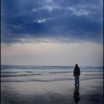 Man on Perranporth Beach