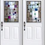 Mondrain inspired front door glass design