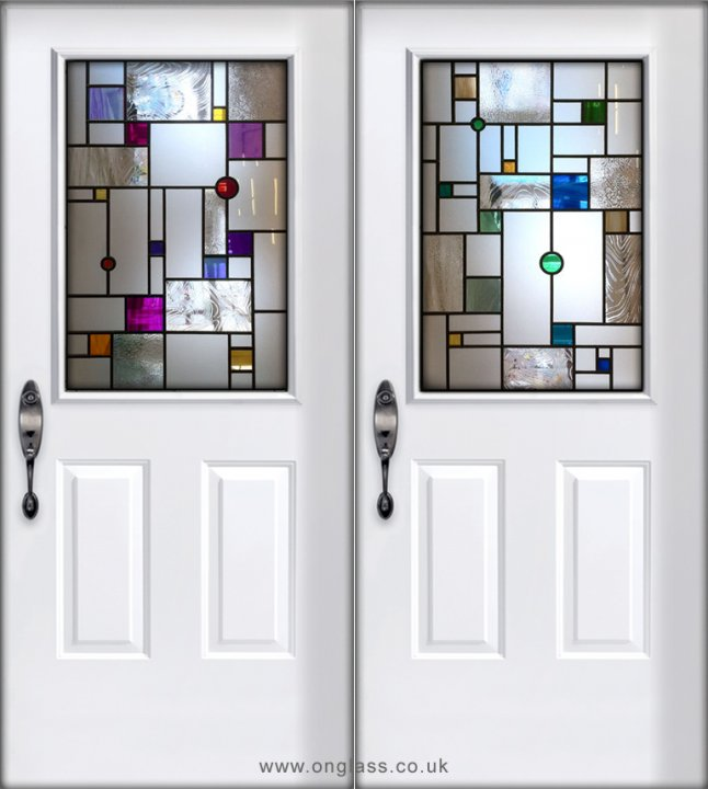 Mondrain inspired front door glass design
