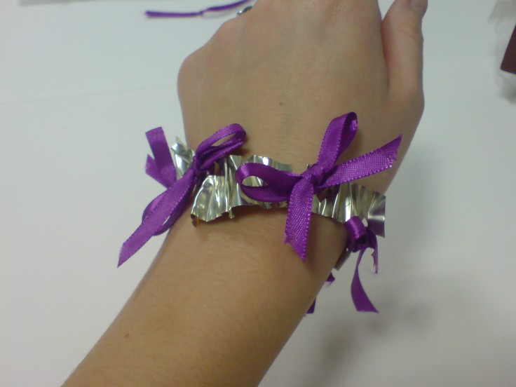 Purrple Silk Ribbon and Pewter