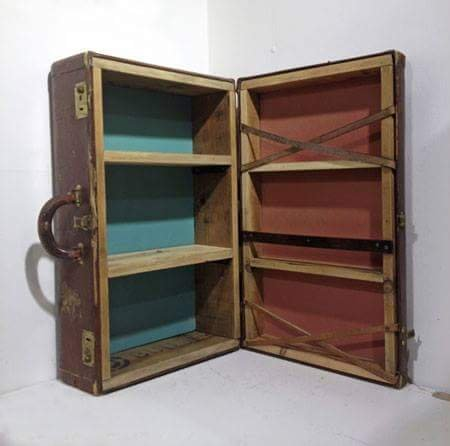 recycled suitcase to shelves