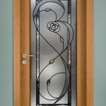 Rennie Mackintosh full length bevel glass & frosted door panel.