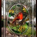 Robin redbreast stained glass bird window