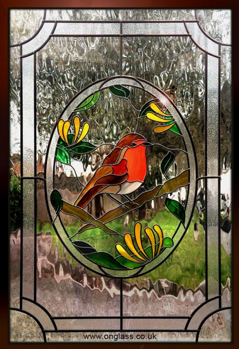 Robin redbreast stained glass bird window
