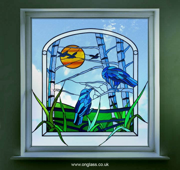 Rook theme stained glass window